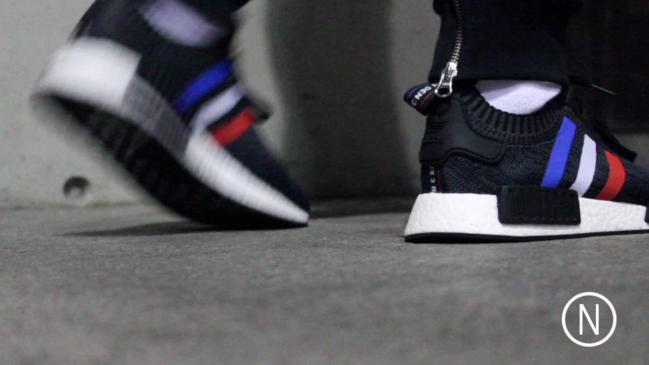 044f35d8c Adidas NMD R1 PK Tricolor Pack On Feet NOIRFONCE Sneakers - YouTube