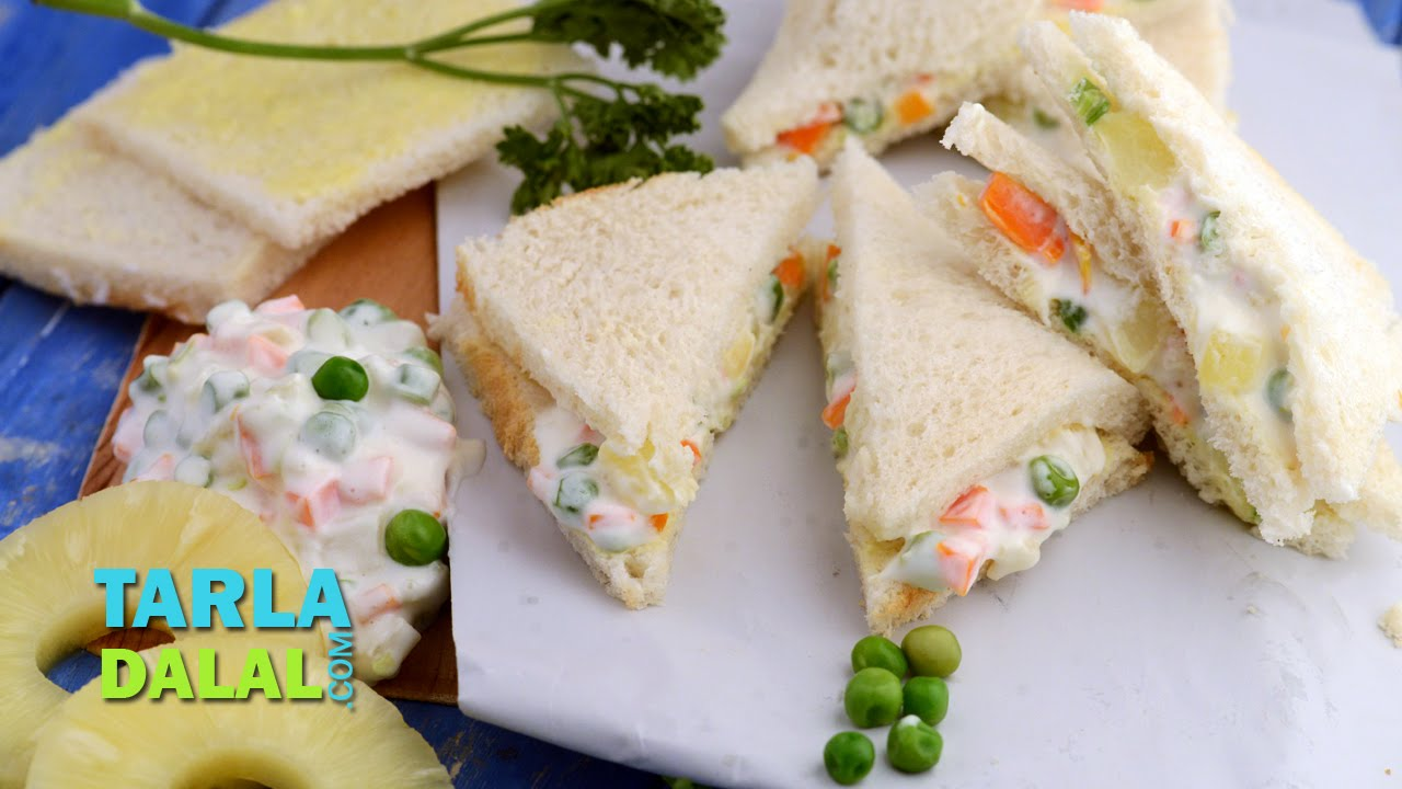 Russian salad sandwich by tarla dalal youtube russian salad sandwich by tarla dalal forumfinder Image collections