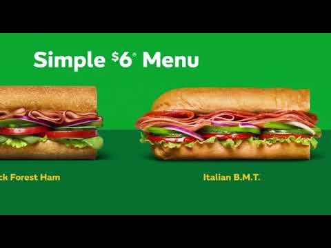 :15 Subway Simple 6 Menu