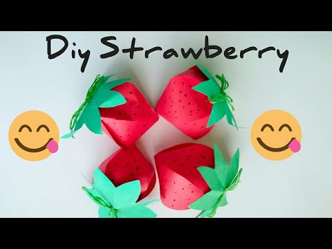 How to make paper strawberry / Paper fruit / Making colour paper strawberry/ Craft by KovaiCraft