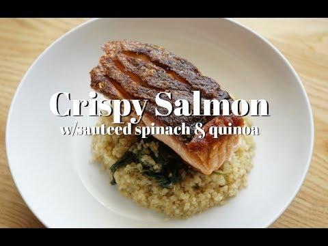 Crispy salmon with sautéed spinach and Quinoa