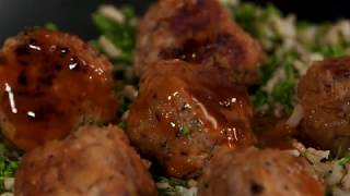 Mushroom and Pork Meatballs with Broccolini Rice   Cooking Light