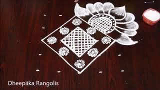 creative lotus rangoli design with 5 dots * simple and easy friday kolam * new muggulu with 5 dots