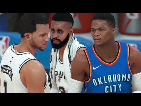 NBA 18 - Oklahoma City Thunder vs San Antonio Spurs (NBA 2K18 Gameplay - Friday Night Basketball)