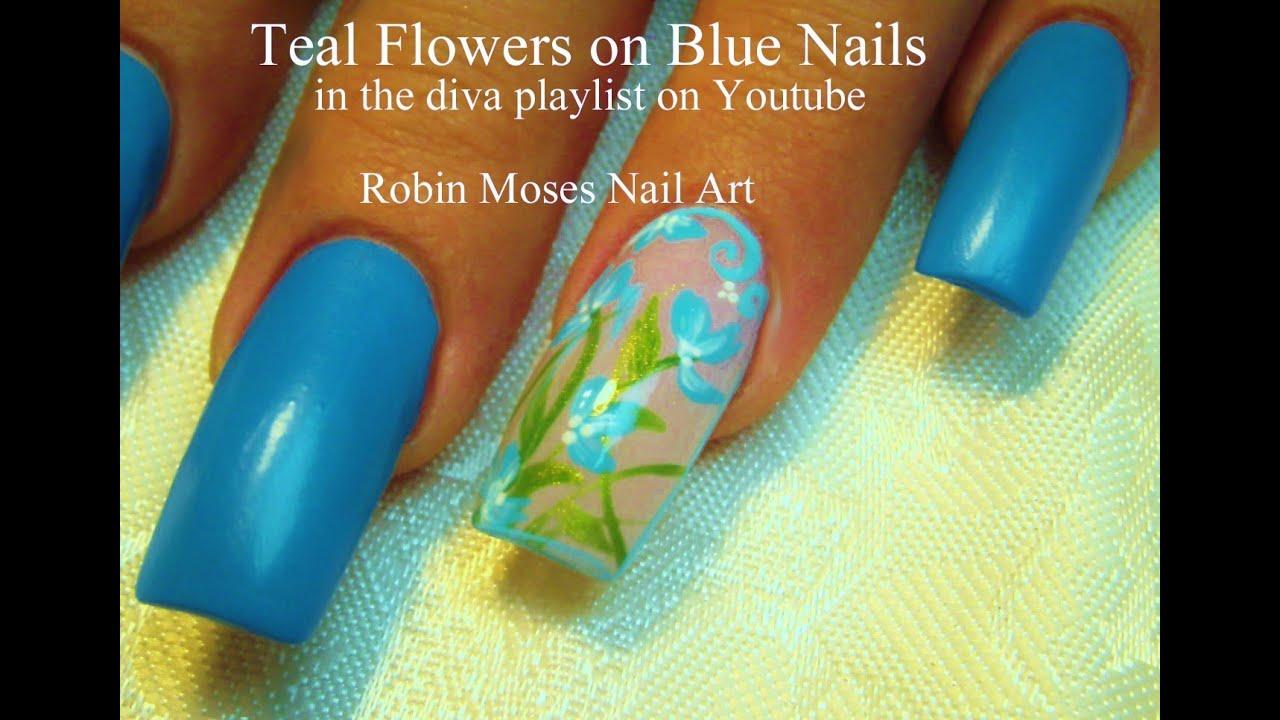 Aqua Blue Flower Nail Art Design Tutorial   Long Nals with Elegant ...