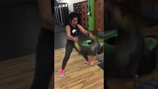 Bulgarian bag power snatch workout.