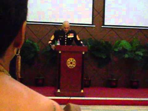 Gunny Srgt. Cepriano speaking at the Marine Ball, Liberia 2011