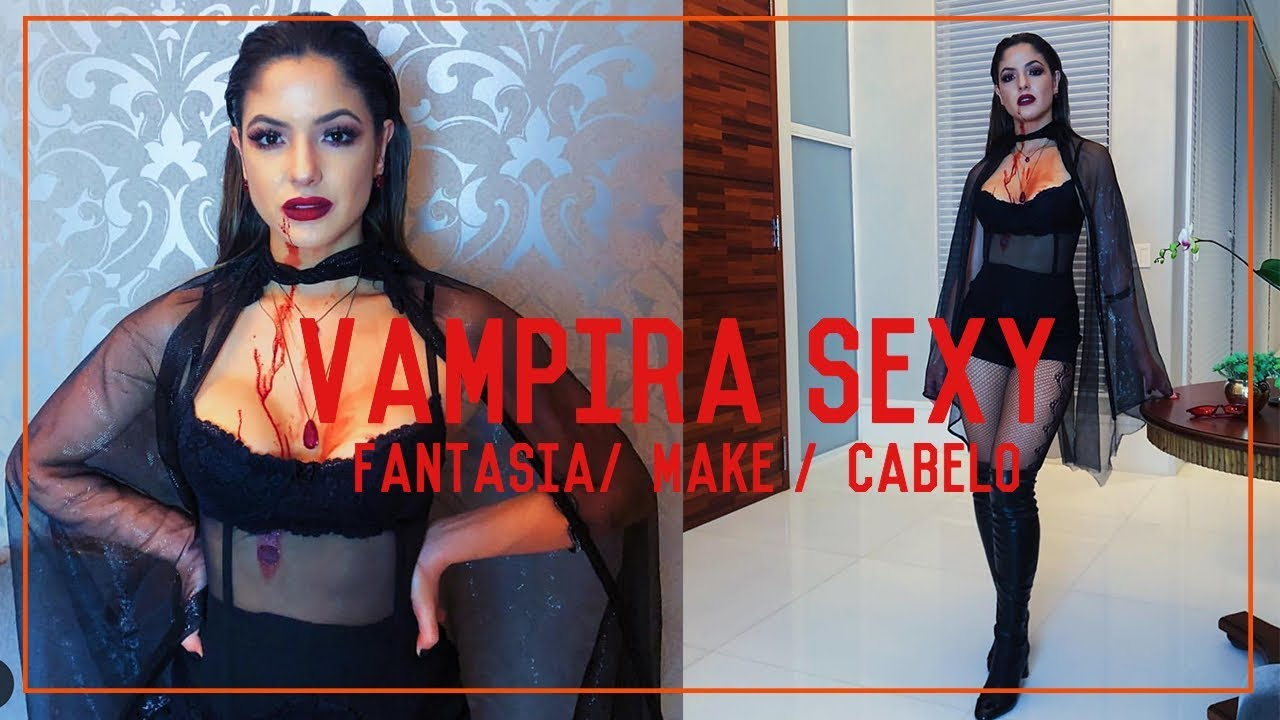 Fantasia De Halloween Vampira Sexy Make Cabelo Fantasia Youtube