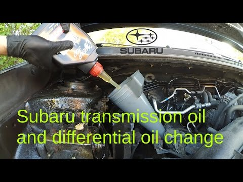 Subaru Impreza manual Transmission and front differential oil change.