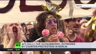 Berlin clubbers counter-protest anti-immigration AfD party demo