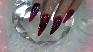 Red And Black Glitter Acrylic Nails|For Heart Health Month