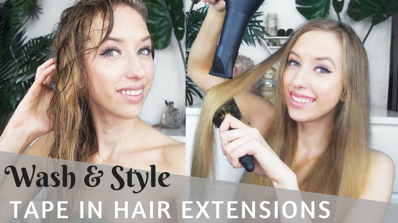 How To Wash And Style Tape In Hair Extensions Youtube