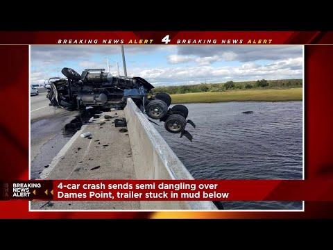 Semi truck dangles off Dames Point bridge