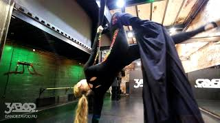 вис на подколенке /  воздушные полотна - уроки / школа танцев Завод