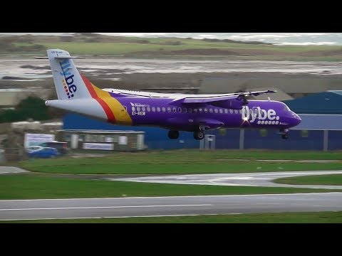 Storm Dylan Gusty 43kt Wind Landings at Ronaldsway, Isle of Man! | 29/12/17
