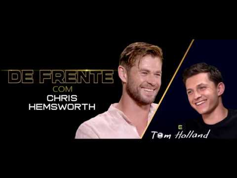 De frente com Chris Hemsworth e Tom Holland