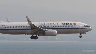 中国国際航空 ボーイング737-800 関西国際空港 ランウェイ24レフト 着陸...