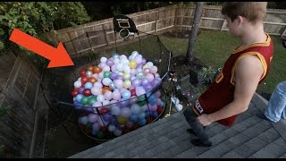 trampoline filled with balloons
