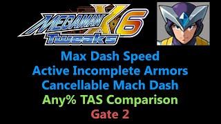 [TAS Comparison] Tweaked Mega Man X6 - Max Dash Speed,  AIA and CMD - Gate 2