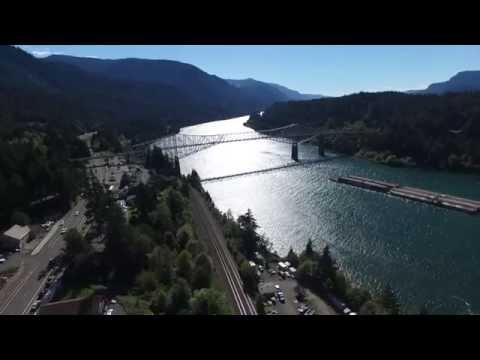 Drone over Cascade Locks at Bridge of The Gods