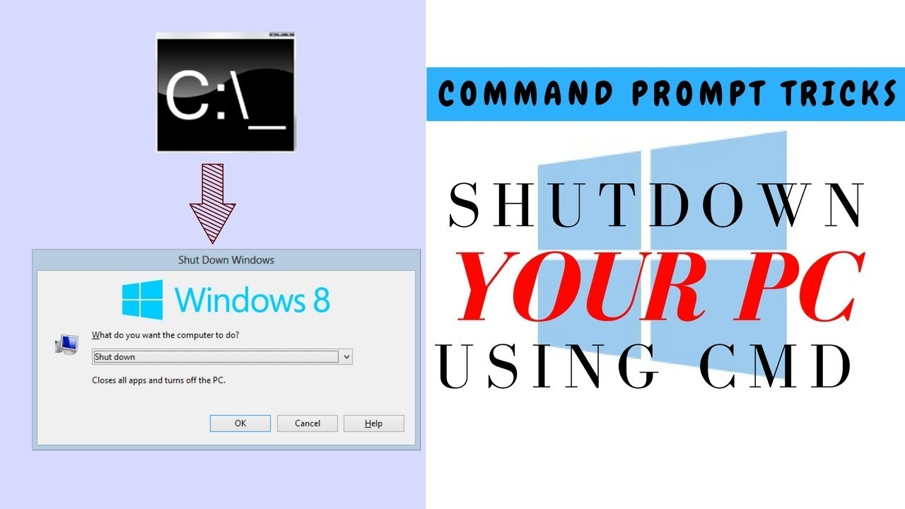 Shutdown your pc/laptop using CMD (Command prompt).