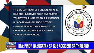 DFA: Pinoy, nasugatan sa bus accident sa Thailand
