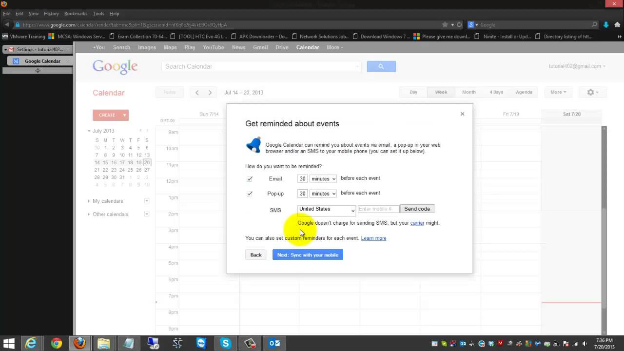 gmail calendar sync outlook