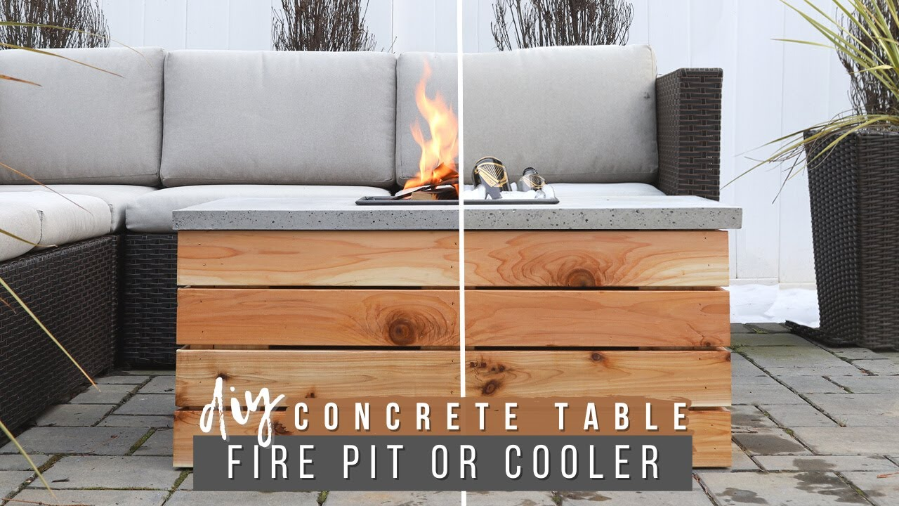 How To Build A Concrete Table With Cooler Or Fire Pit