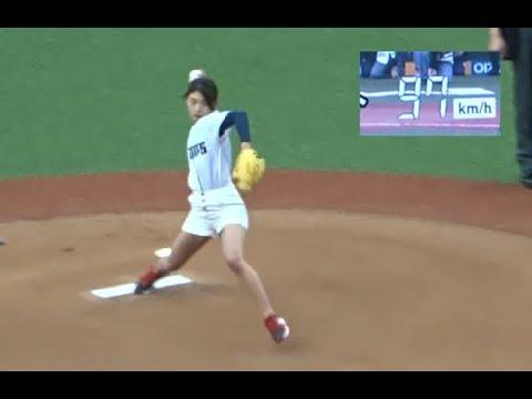 坪井ミサト初めての始球式は97kmのナイスピッチング!「美しすぎる野球女子」2018.4.28