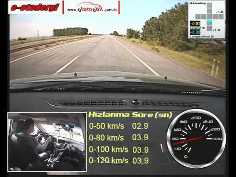 Chevrolet Cruze 2.0 Dizel Otomatik (Diesel Automatic) test (0-100 km/s, 100-0 km/s)