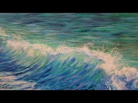 Simple Ocean Wave LIVE Acrylic Painting Tutorial