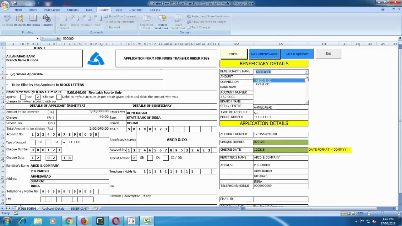 rtgs form of allahabad bank in excel format