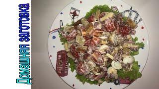Салат из колбасы, сухариков и перепелиных яиц эпизод №292