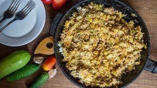 Рис с мясом и кабачками на сковороде Ужин наскорую руку