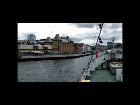 Sailing into Stavanger harbor on M/S Rogaland