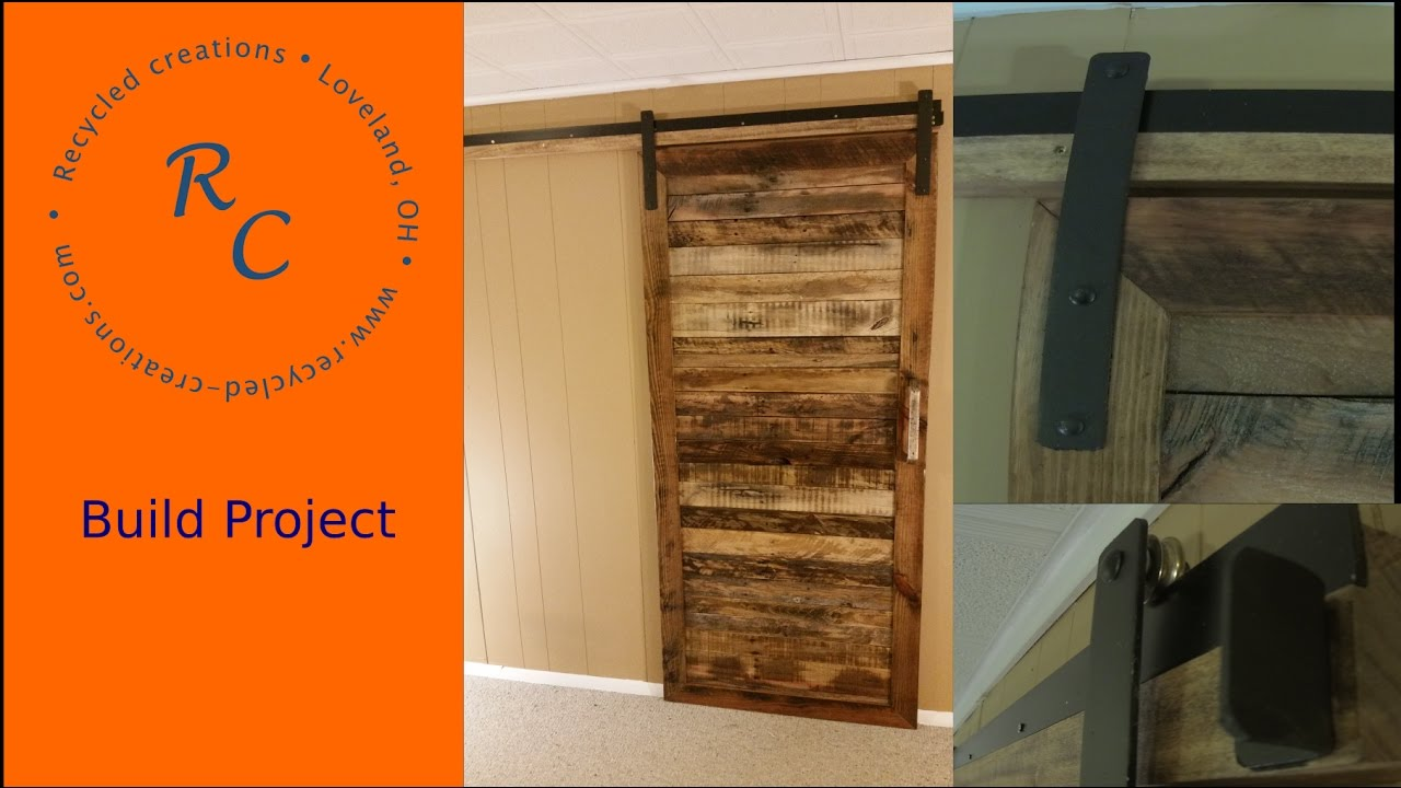 How To how to make a barn door images : Up-Cycled Pallet wood Sliding Barn Door - YouTube