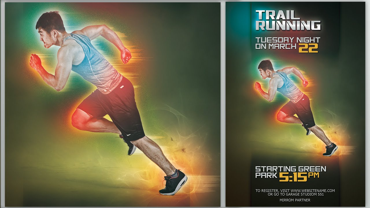 Make Futuristic Color Sport Flyer In Photoshop - YouTube