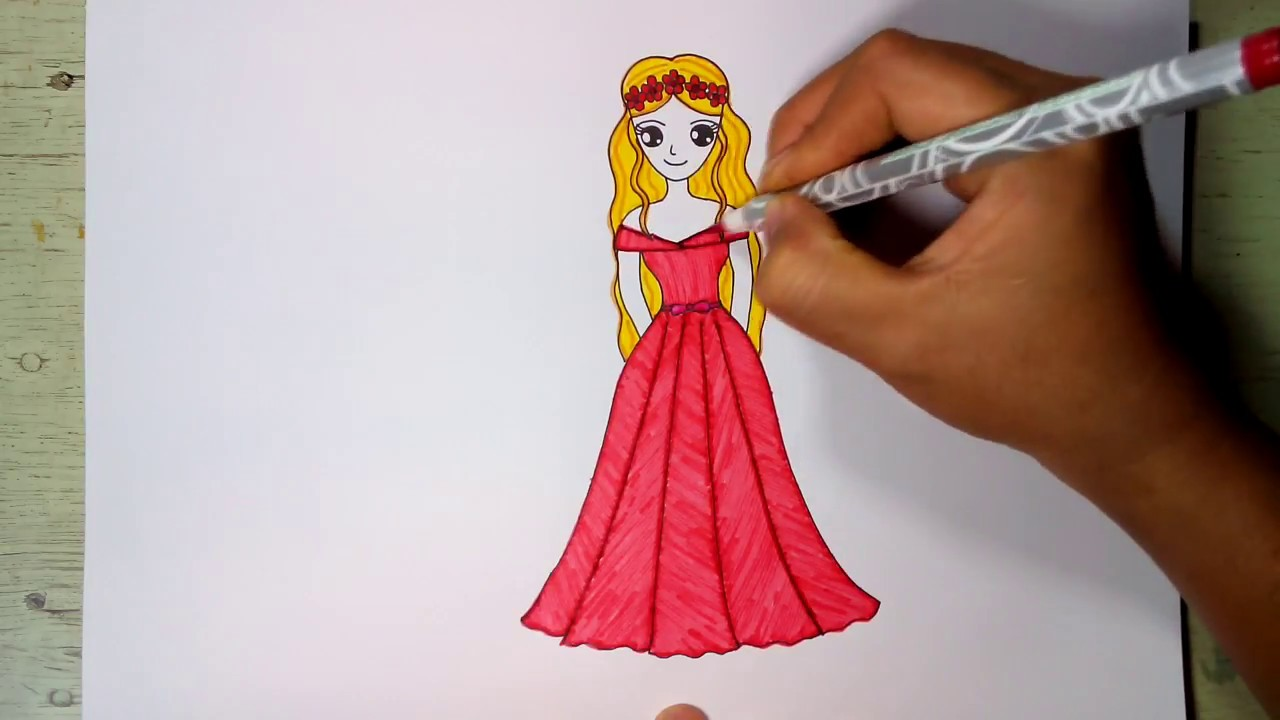 วาดรูปเจ้าหญิงบาร์บี้ใส่ชุดเต้นรำ พร้อมระบายสี