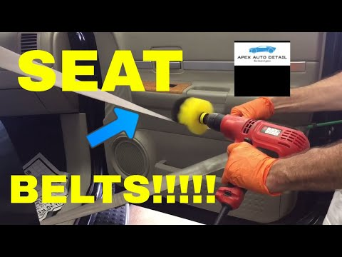 How to Clean SEAT BELTS!!!  Assisted by Matrix Spot Remover and Drill Attachment Scrub Brush!!