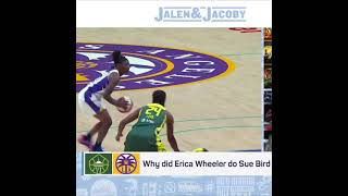 Why did Erica Wheeler do Sue Bird like that on the crossover 😅  #shorts