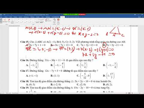 Hình học phẳng Oxy|Phương trình đường thẳng|Bài tập trắc nghiệm|Hình học chương 3 lớp 10