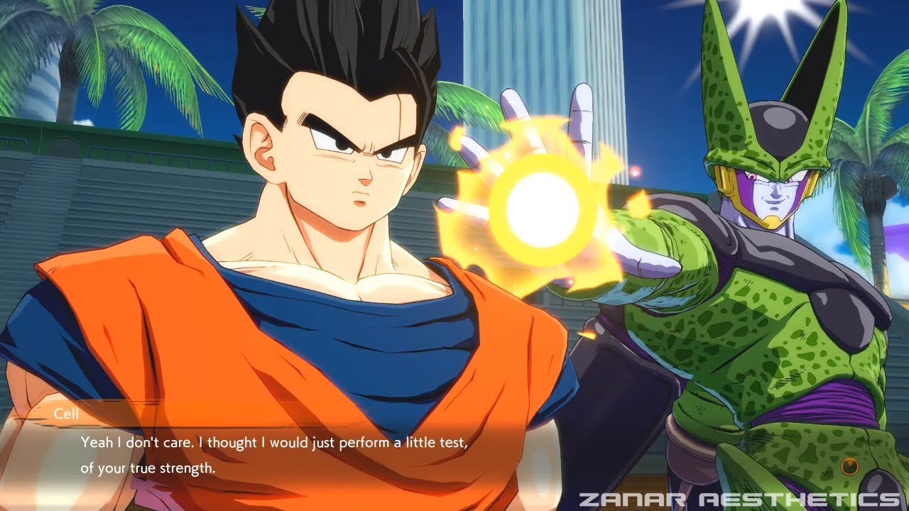 dragon ball fighterz - cell meets adult gohan & roasts him - youtube