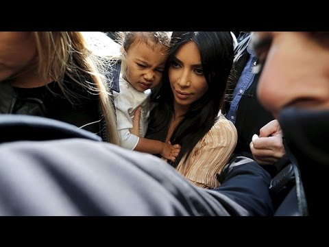 North West baptism: Kim Kardashian and Kanye West mobbed in Israel