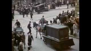 Jewish ghetto established by german murderers in Warsaw (color film)