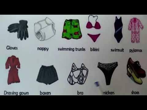 Vocabulario de la ropa  en inglés y español.