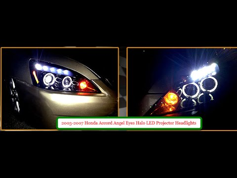 2003 2007 Honda Accord Angel Eyes Halo LED Projector Headlights