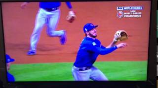 Pure Joy! Kris Bryant smiling as he fields the ball to make the final out of the World Series