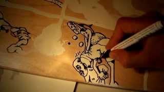 Deck#03 - Fratzen on skateboard/longboard - drawing/making-of