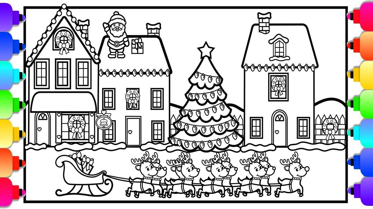 how to draw a christmas village | 💚🎅🎄⛄💚| christmas coloring