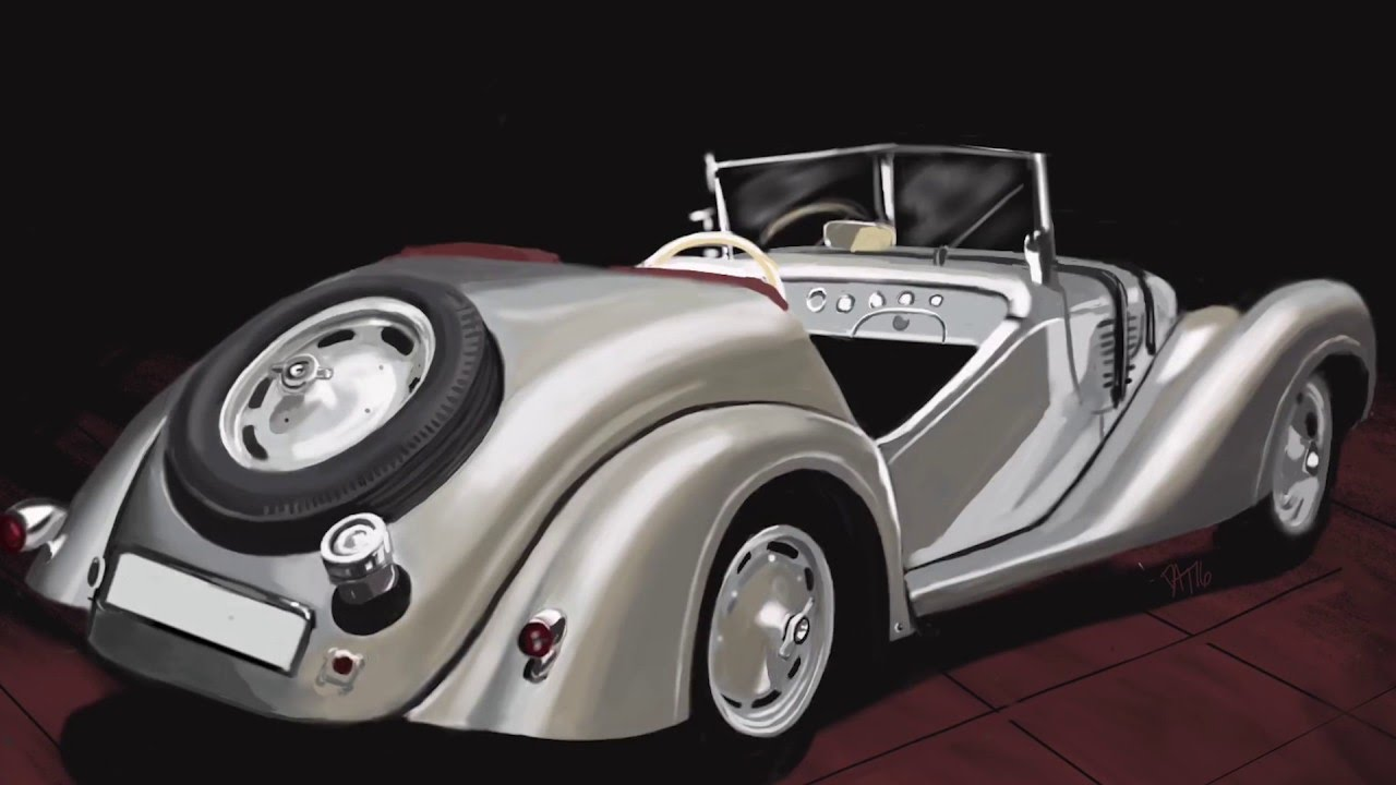 BMW 328 1937 Sport Cabriolet digital painting - YouTube
